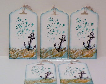 Anchor and Shell Tags ...Set of 10...Blue and White tags...Ocean Spray..Hand Stamped...Wedding Tags...Bridesmaid Tags...Stampin'Up! stamps!