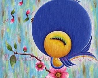 50% OFF Cute Blue Bird, Painting, Girls Room, Whimsical, Nursery Art, Square, Girls Wall Art, Canvas, Kawaii, Flowers, Bird, Blue Bird