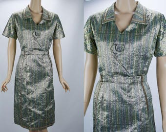 1960s Vintage Party Dress Gold and Green Lurex Cocktail by Margarete Heymann B40 W34 M-L