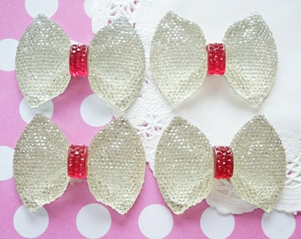 SALE 4 pcs Huge Bling Bow Cabochon (43mm58mm) Clear BW185