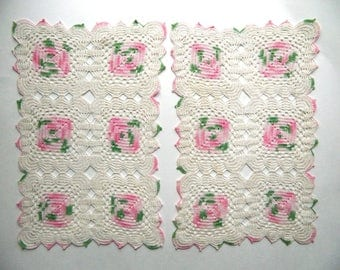 Vintage Pair of Sweet Pink-Green-Ivory Rectangular Doilies