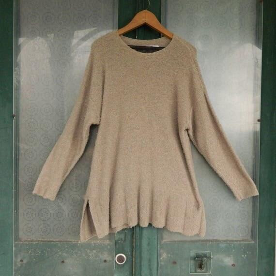FLAX Engelhart Soleil 1998 Pullover Peplum Sweater -M/L- Natural Cotton/Nylon
