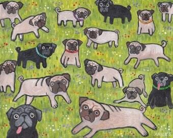"""Original painting - """"Field of Pugs"""""""