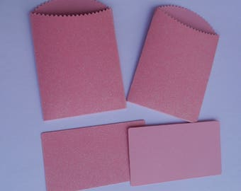 10 x small pink glitter sparkle pocket envelopes & insert.wedding 2.75 x 4in mini bags scrap booking, children party