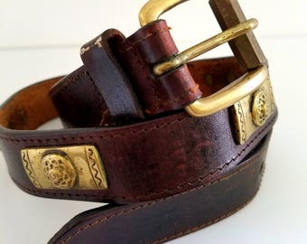 Vintage 1970s Leather & Brass Belt Boho Hippie Chic Belt