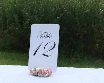 """Floral Embellished Table Number Holders 2"""" (Set of 10)"""
