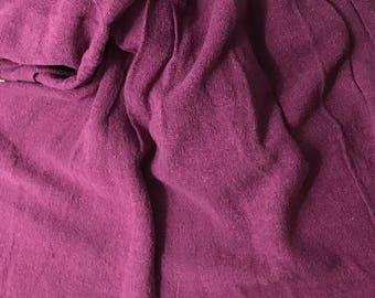 "Hand Dyed Maroon Raw Silk Noil Poplin Gauze Fabric - 18""x22"""