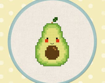 Happy Avocado. PDF Modern Cute Simple Counted Cross Stitch Pattern Instant Download