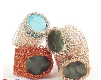 On SALE 20% - Jewelry Pattern,Ring DIY tutorial,Mesh ring pattern,Crochet Patterns for Woman,Crochet Patterns Jewelry,Wire Wrapped Ring