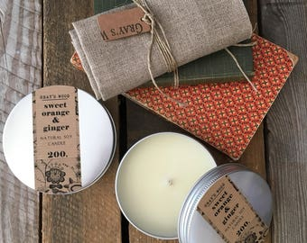 Orange and Ginger Essential Oil slow burning soy candle, Candle in a Tin