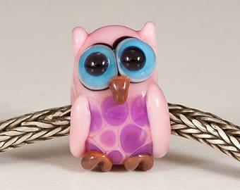 Pink Owl Lampwork Big Hole Bead