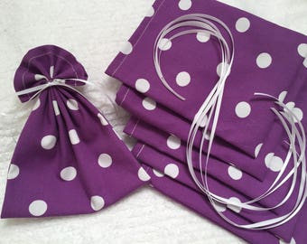 Mini Gift Bags, Purple Fabric Bags, Gift Wrap, Product Supply Bag, Soap Bag, Treat Bags, Guest Favors, Pack of 6, Polka Dot Fabric