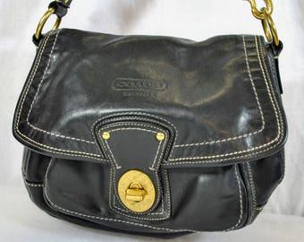 Vintage Coach Black Leather Handbag - Hobo Purse - White Outline Stitching