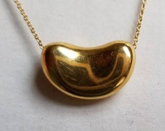 "Tiffany & Co. 750 18k Yellow Gold Elsa Peretti Large Bean Necklace 16"""