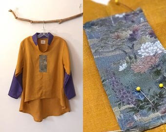 size M autumn gold purple linen blouse with gorgeous Japanese kimono floral motif / tapered sleeves / chip collar / Monet lily pond like