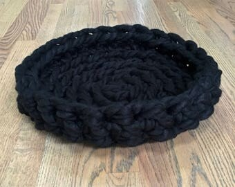 Cat Bed - Chunky Knit Cat Bed, 16 x 2 inches - Crochet cat bed or small dog bed - Black Pet Bed