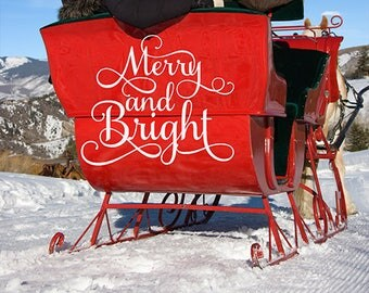 Merry and Bright Decal Christmas Decor VINYL DECAL stickers Holiday Decorations Door decal window stickers Christmas Words Christmas Decal