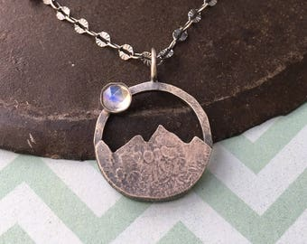 all that you keep is the journey.  moonstone mountain necklace