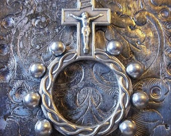 ON SALE World War II Era Italian Prayer Rosary Ring With Steel Crucifix & Crown Of Thorns, The Passion Of Jesus Christ, Military Surplus Goo