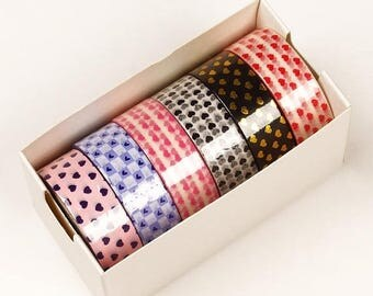 Summer Sale 6 piece packs 10 Yards of Colorful Mini Hearts Pattern Washi Tape Assortment