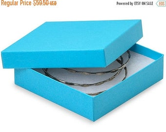 STOREWIDE SALE 100 Pack Matte Finish 100 Percent Recycled Tropical Blue 3.5 X 3.5 X 1 Inch  Size Cotton Filled Jewelry Presentation Gift Box