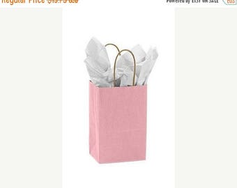 New Years Sale 25 pack Light Pink Recycled 5.25 x 3.5 x 8.5 inch Paper Handle Bags