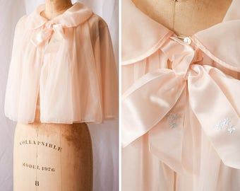 "Priscilla | Vintage 1960s Bed Jacket Vanity Fair Pale Pink Nylon Chiffon Floaty Baby Doll 60s Lingerie Peter Pan Collar Satin Bow Bust 40"" +"