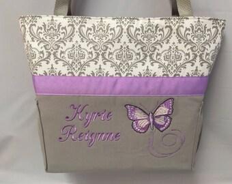 PURPLE Butterfly... Diaper Bag ... Gray DAMASK .. Bottle Pockets ... Zipper available