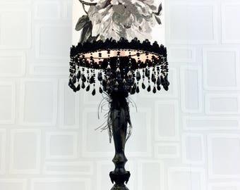 Lampe de table/ lampe de chevet/fleur noir et blanc/toile de coton/unique/lampes de marie