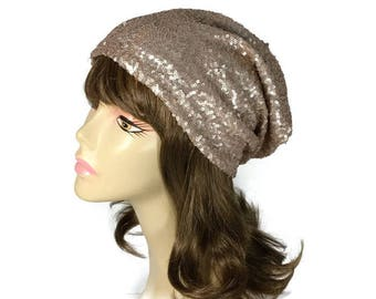 FREE SHIPPING Sequin Hat Pale Rose Gold Sequin Hat Sequin Slouchy Hat Peach Slouchy Beanie Glam Chemo Cap for Hair Loss Sparkle Slouchy Hat