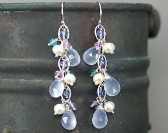 Summer SALE Turkish Chalcedony, Tanzanite, Amethyst, Apatite, fresh water Pearl chain dangle gemstone earrings, 925 Silver hooks ... LAMIS E