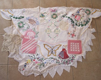 Vintage Antique Linens caftan huipil  tablecloth shawl alternative wedding Eclectic ARTISAN Wearable Folk Art COLLAGE Clothing   - One Size