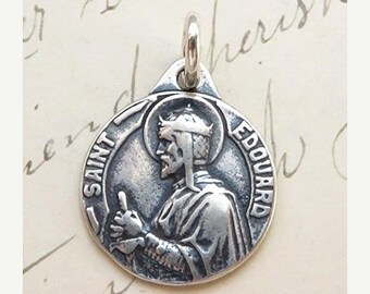 ON SALE St Edward Medal - Patron of difficult marriages - Antique Reproduction