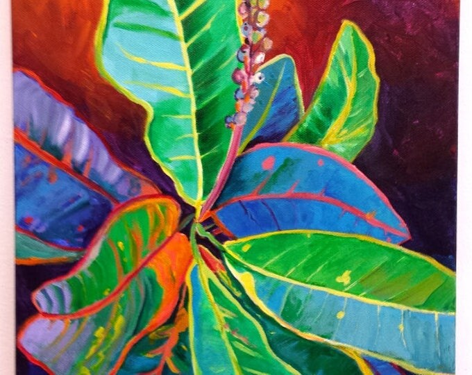 leaves original acrylic painting kauai hawaii hawaiian paintings tropical croton leaves colorful leaf interior decor kauai fine art decor