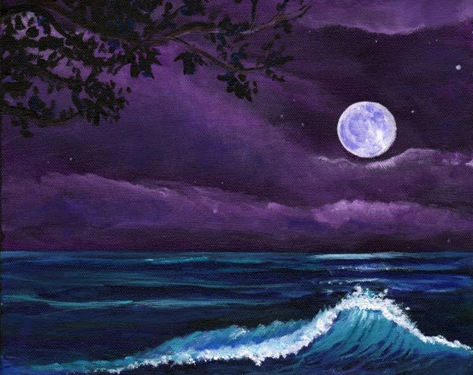 Kauai moon art, Romantic Kauai Moonlight, Kauai Giclee Art Print, Hawaii art,  Marionette Taboniar, Kauai Artist, moon art, beach at night