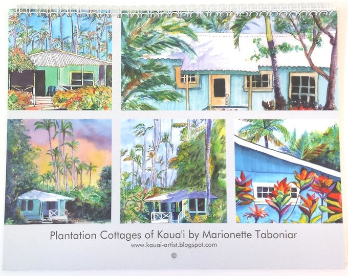 2018 Wall Calendar Plantation Cottages of Kauai by artist Marionette Taboniar Hawaiian 12 month calendars Christmas gifts house cottage