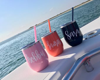 Personalized Insulated Steel Wine Tumbler-Great for Great gift for the bridesmaids, bachelorette parties, showers, friends, girls weekends