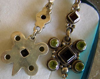 Sterling Silver Peridot Topaz & Garnet Earrings from Italy - Original Box - Never Worn Old World TUSCAN Dangle Chandelier