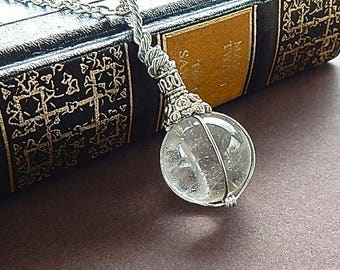 Fortune Teller Crystal Ball Clear Quartz Necklace Pendant With Long Silver Chain