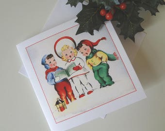 Christmas Greeting Card Child Carolers Retro Mid Century Illustration - I Will Post for You - EnglishPreserves