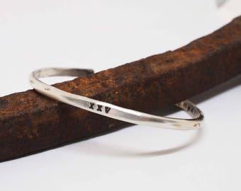 Men's Silver Cuff, Hammered Cuff, Rustic Silver Bracelet, Silver Anniversary Gift, Roman Numeral Bracelet, XXV