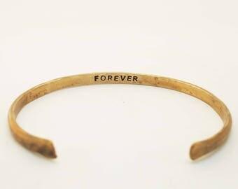 Men's Bracelet, 8th Anniversary Gift, Men's Bronze Cuff, Rustic Bracelet, Forever Cuff
