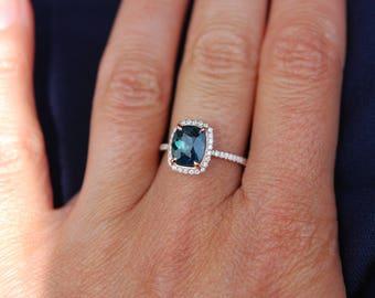 Peacock sapphire engagement ring. 2.5ct cushion cut blue green sapphire ring diamond ring 14k Rose gold ring by Eidelprecious