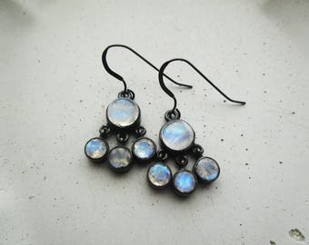 Oxidized Sterling Silver and Moonstone Earrings