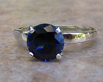 Lab Created Blue Sapphire Solitaire, Sterling Silver Ring, Cavalier Creations
