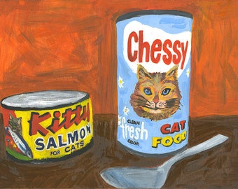 Kitty food.  Limited edition print of an original oil painting by Vivienne Strauss