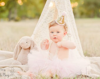 Pink and Gold 1st Birthday Outfit, First Birthday Outfit, 1st Birthday Tutu Set, First Birthday Tutu Glittery Mini Party Hat Pink Tutu Skirt