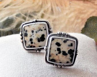 Vintage Signed Sterling Silver Dalmatian Jasper Square Post Earrings