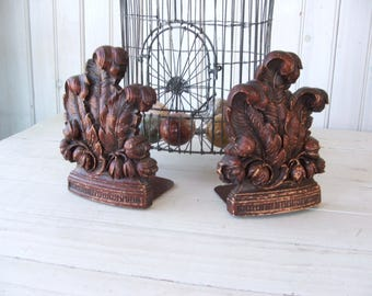 Vintage Syroco Wood Composite Bookends Feathers Leaves Flowers