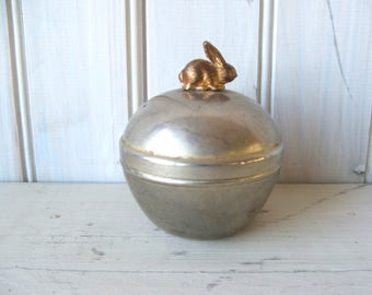 Vintage Metal Lidded Container with brass bunny